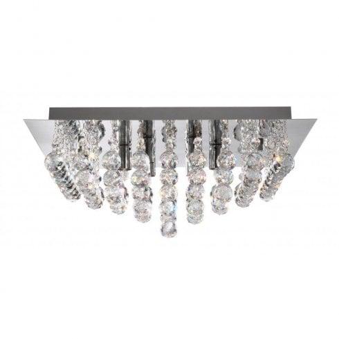 Searchlight Hanna 6406-6CC Flush Ceiling Light Crystal