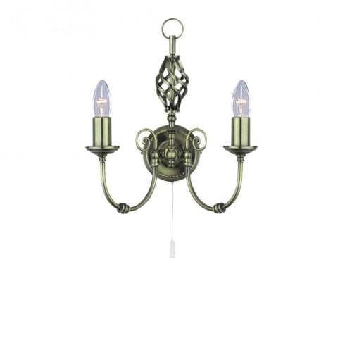 Searchlight Zanzibar 8392-2 Surface Wall Light Antique Brass