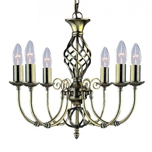 Searchlight Zanzibar 8396-6 Pendant Light Antique Brass