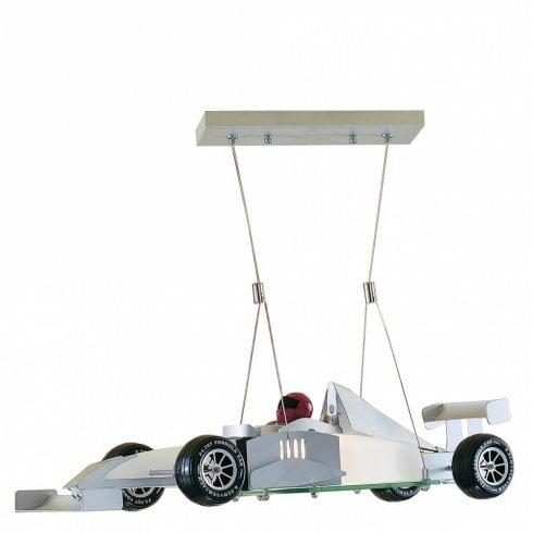 Searchlight Novelty F1 Racing Car Pendant Ceiling Light Satin Silver