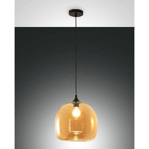 Fabas Luce Maia Pendant Ceiling Light Amber