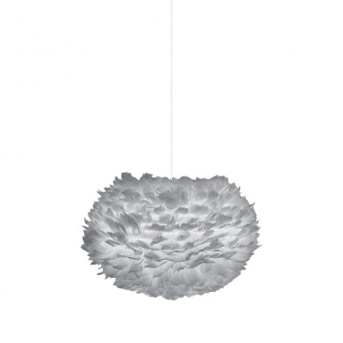 Umage Medium Eos Lampshade Natural Goose Feather Light Grey