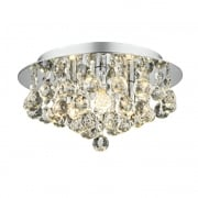 Dar Pluto 3 Light Flush Ceiling Light Polished Chrome