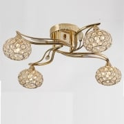 Leimo IL-IL30964 French Gold Crystal Four Light Ceiling Light