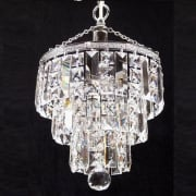 3 Tier 190/9/1 Crystal Square  & Lozenge Trimmings Round Pendant