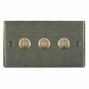 Hartland 793X40 Antique Brass 3 gang 400W 2 Way Leading Edge Push On/Off Resistive Dimmer