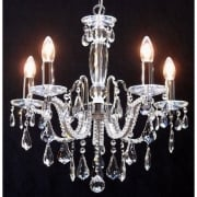 Fantastic Mozart 603/5 Chrome Beaded Arm & New Pear Shape Trimmings Chandelier