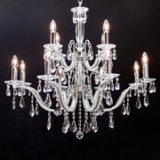 Fantastic Mozart 603/8+4 Chrome Beaded Arm & New Pear Shape Trimmings Chandelier