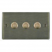 Hamilton Litestat Hartland 793X40 Antique Brass 3 gang 400W 2 Way Leading Edge Push On/Off Resistive Dimmer