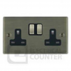 Hamilton Litestat Hartland 79SS2AB-B Antique Brass 2 gang 13A Double Pole Switched Socket