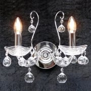 Concerto 1524/2B  Chrome With Lead Crystal Ball Trimmings  Wall Bracket
