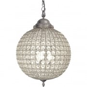 Round 36047 Crystal Effect Pewter ball Chandelier Medium
