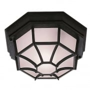 Searchlight 2942BK Hexagonal Flush Outdoor Ceiling Light